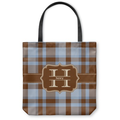 Two Color Plaid Canvas Tote Bag (Personalized)