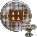 Two Color Plaid Cabinet Knob (Silver) (Personalized)