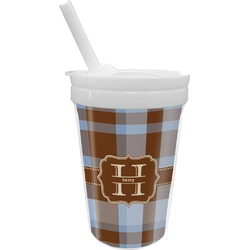 Two Color Plaid Sippy Cup with Straw (Personalized)