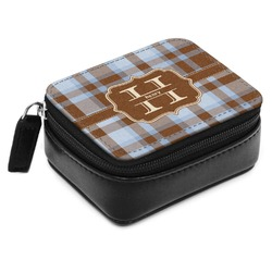 Two Color Plaid Small Leatherette Travel Pill Case (Personalized)