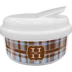 Two Color Plaid Snack Container (Personalized)