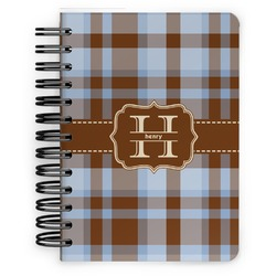 Two Color Plaid Spiral Bound Notebook - 5x7 (Personalized)