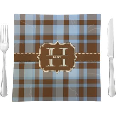 """Two Color Plaid 9.5"""" Glass Square Lunch / Dinner Plate- Single or Set of 4 (Personalized)"""