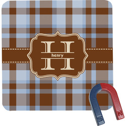 Two Color Plaid Square Fridge Magnet (Personalized)