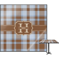 Two Color Plaid Square Table Top (Personalized)