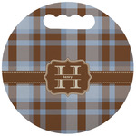 Two Color Plaid Stadium Cushion (Round) (Personalized)