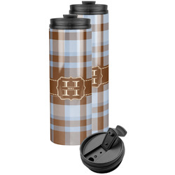 Two Color Plaid Stainless Steel Skinny Tumbler (Personalized)