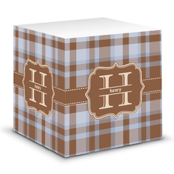 Two Color Plaid Sticky Note Cube (Personalized)
