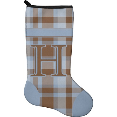 Two Color Plaid Holiday Stocking - Neoprene (Personalized)