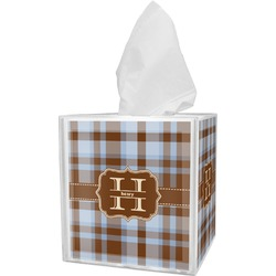Two Color Plaid Tissue Box Cover (Personalized)