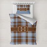 Two Color Plaid Toddler Bedding w/ Name and Initial