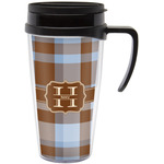 Two Color Plaid Travel Mug with Handle (Personalized)