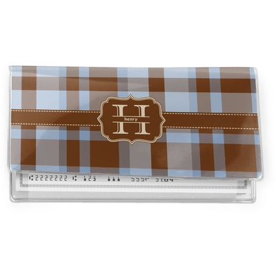Two Color Plaid Vinyl Checkbook Cover (Personalized)