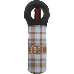 Two Color Plaid Wine Tote Bag (Personalized)