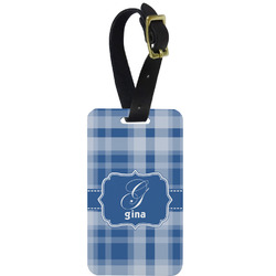 Plaid Metal Luggage Tag w/ Name and Initial