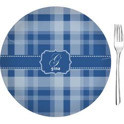 "Plaid 8"" Glass Appetizer / Dessert Plates - Single or Set (Personalized)"