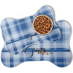 Plaid Bone Shaped Dog Food Mat (Personalized)