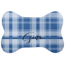 Plaid Bone Shaped Dog Food Mat (Personalized)