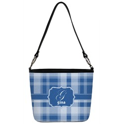 Plaid Bucket Bag w/ Genuine Leather Trim (Personalized)