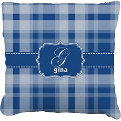 """Plaid Faux-Linen Throw Pillow 16"""" (Personalized)"""