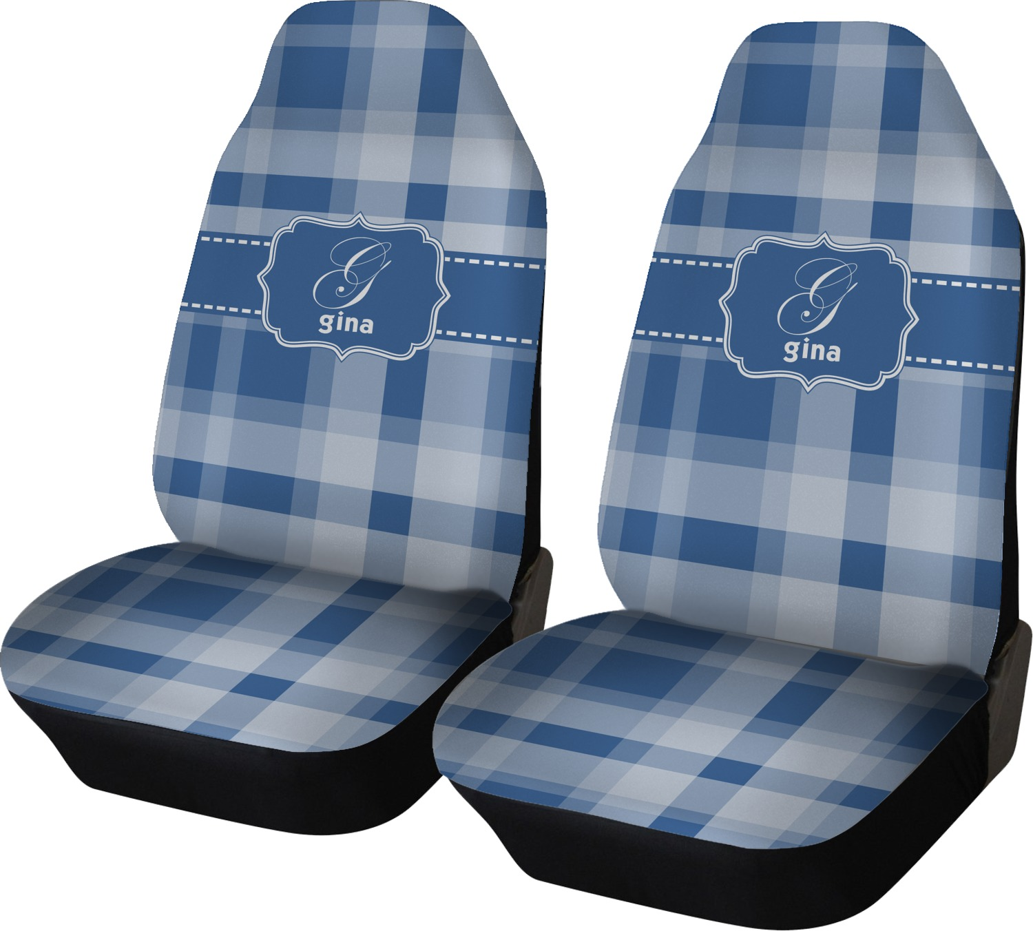 Plaid Car Seat Covers Set Of Two Personalized