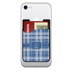 Plaid 2-in-1 Cell Phone Credit Card Holder & Screen Cleaner (Personalized)