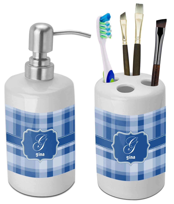 Plaid Bathroom Accessories Set (Ceramic) (Personalized) - YouCustomizeIt