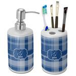 Plaid Ceramic Bathroom Accessories Set (Personalized)