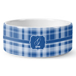 Plaid Ceramic Pet Bowl (Personalized)