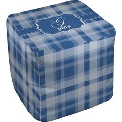 Plaid Cube Pouf Ottoman (Personalized)