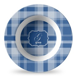 Plaid Plastic Bowl - Microwave Safe - Composite Polymer (Personalized)