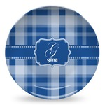 Plaid Microwave Safe Plastic Plate - Composite Polymer (Personalized)
