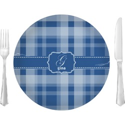 """Plaid 10"""" Glass Lunch / Dinner Plates - Single or Set (Personalized)"""