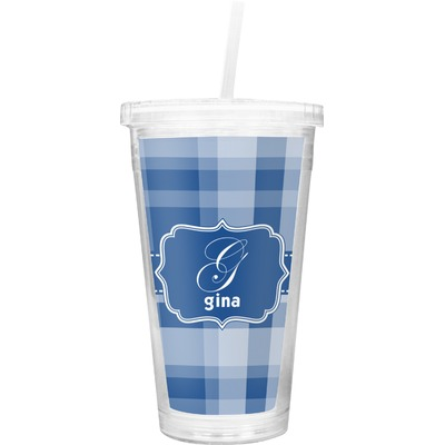 Plaid Double Wall Tumbler with Straw (Personalized)