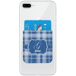 Plaid Genuine Leather Adhesive Phone Wallet (Personalized)