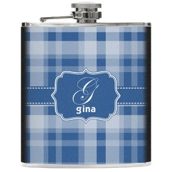 Plaid Genuine Leather Flask (Personalized)