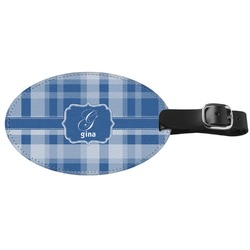 Plaid Genuine Leather Oval Luggage Tag (Personalized)