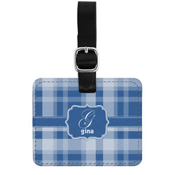 Plaid Genuine Leather Luggage Tag w/ Name and Initial