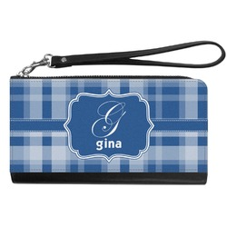 Plaid Genuine Leather Smartphone Wrist Wallet (Personalized)