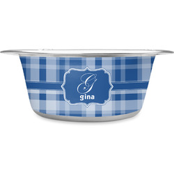 Plaid Stainless Steel Dog Bowl (Personalized)