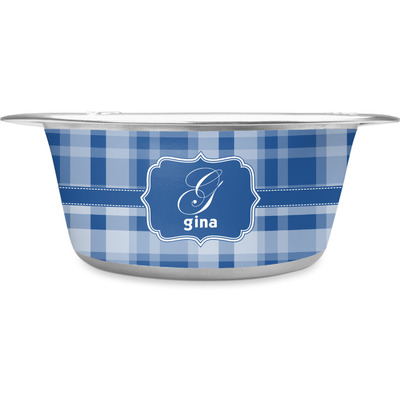 Plaid Stainless Steel Pet Bowl (Personalized)
