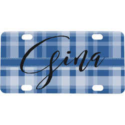 Plaid Mini / Bicycle License Plate (Personalized)