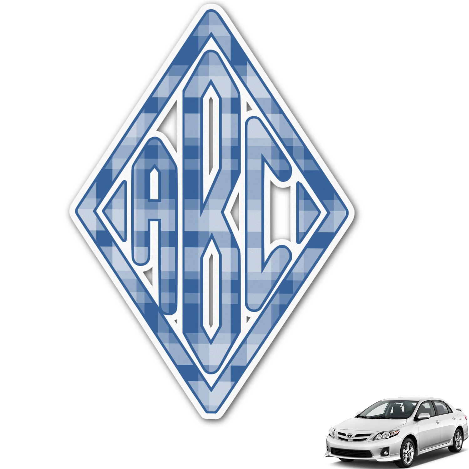 Plaid Monogram Car Decal Personalized Youcustomizeit