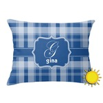 Plaid Outdoor Throw Pillow (Rectangular) (Personalized)