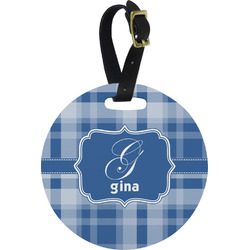 Plaid Round Luggage Tag (Personalized)