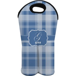 Plaid Wine Tote Bag (2 Bottles) (Personalized)