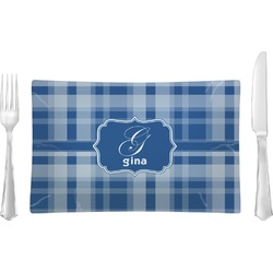 Plaid Glass Rectangular Lunch / Dinner Plate - Single or Set (Personalized)