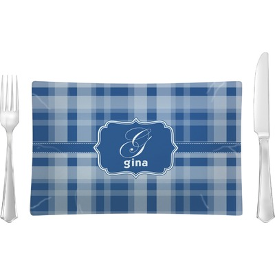Plaid Rectangular Glass Lunch / Dinner Plate - Single or Set (Personalized)