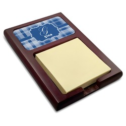 Plaid Red Mahogany Sticky Note Holder (Personalized)