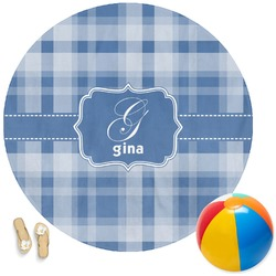 Plaid Round Beach Towel (Personalized)
